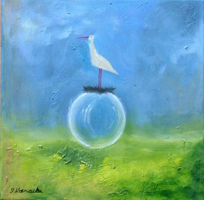 malarstwo akrylowe olejne obrazy galeria ilustracje pejzaz bocian ptaki