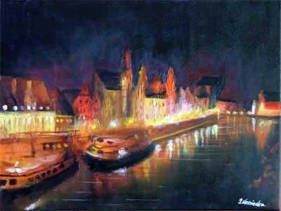 malarstwo akrylowe olejne obrazy galeria ilustracje pejzaz miasto gdansk