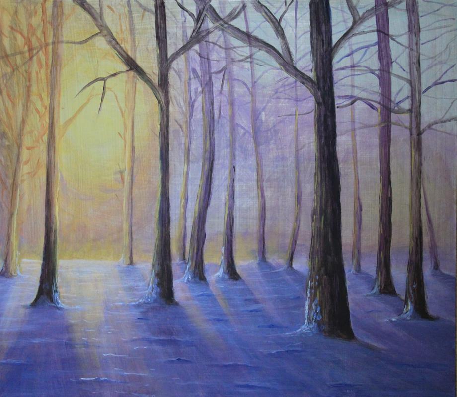 malarstwo, obrazy, pejzaż zimowy, las, handmade, sklep
