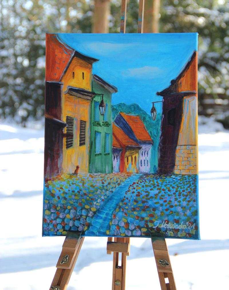 malarstwo, obrazy, pejzaż, miasteczko, handmade, sklep, transylwania, rumunia